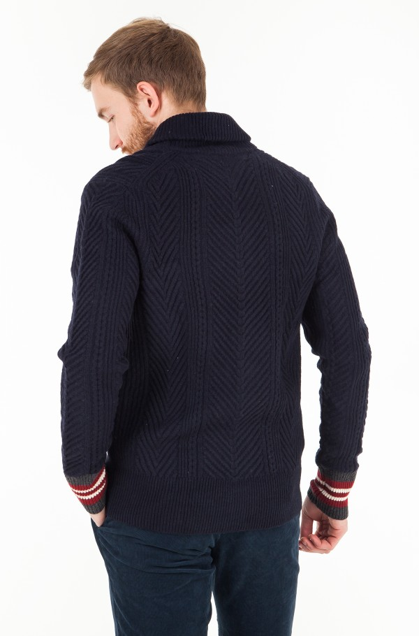 CABLE SHAWL CARDIGAN-hover