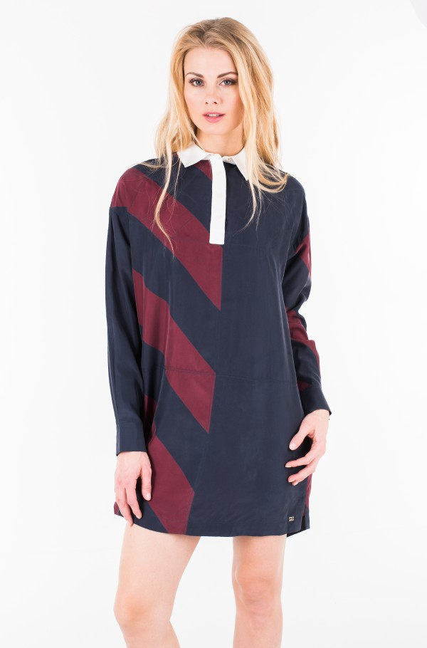 ICON RUGBY SILK DRESS LS