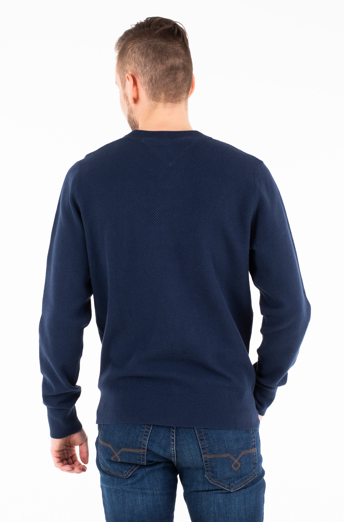 Sweater COTTON MESH STRUCTURED CREW NECK-full-2