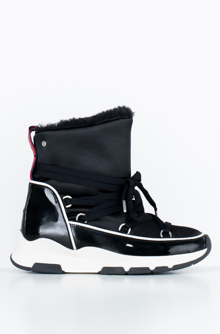 94d74c9c5f408 black Boots COOL TECHNICAL SATIN WINTER BOOT Tommy Hilfiger