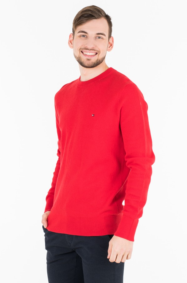 COTTON MESH STRUCTURED CREW NECK