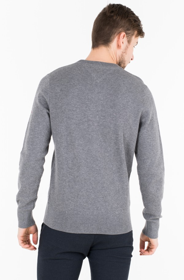 COTTON MESH STRUCTURED CREW NECK-hover