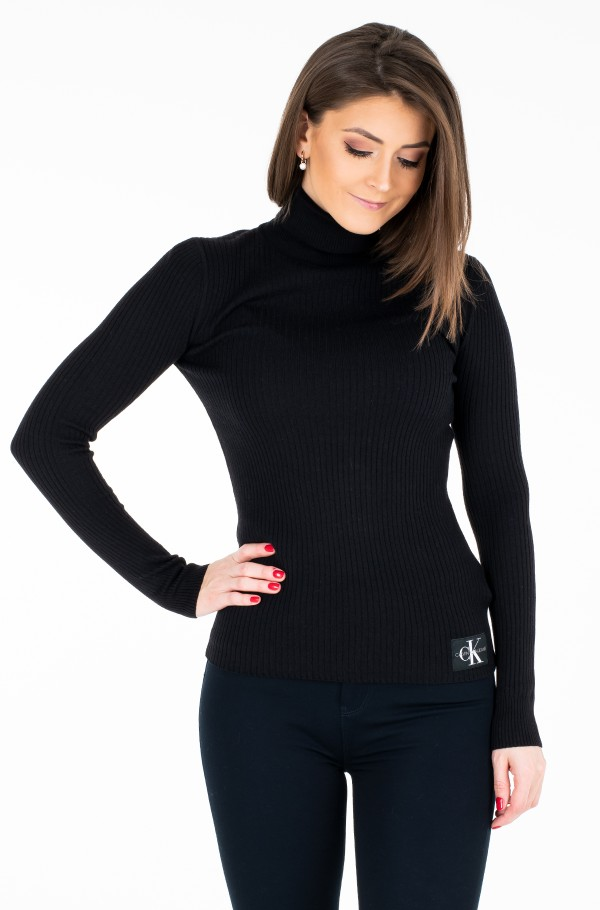 WOOL BLEND RIB TURTLENECK