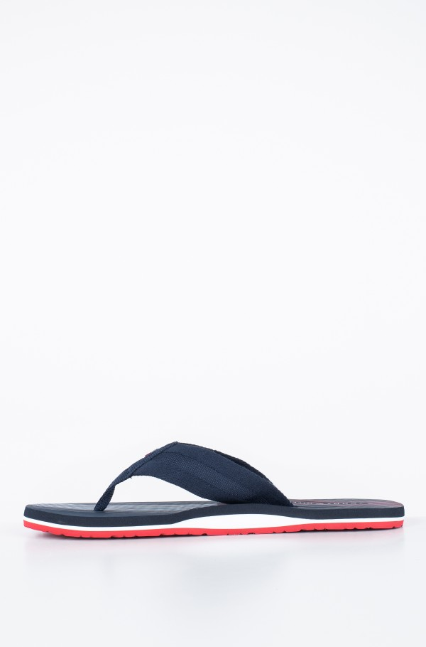 STRIPED FOOTBED BEACH SANDAL-hover