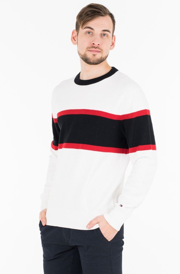 RELAXED FIT COLORBLOCK MESH CREW