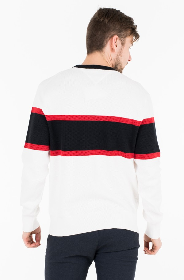 RELAXED FIT COLORBLOCK MESH CREW-hover