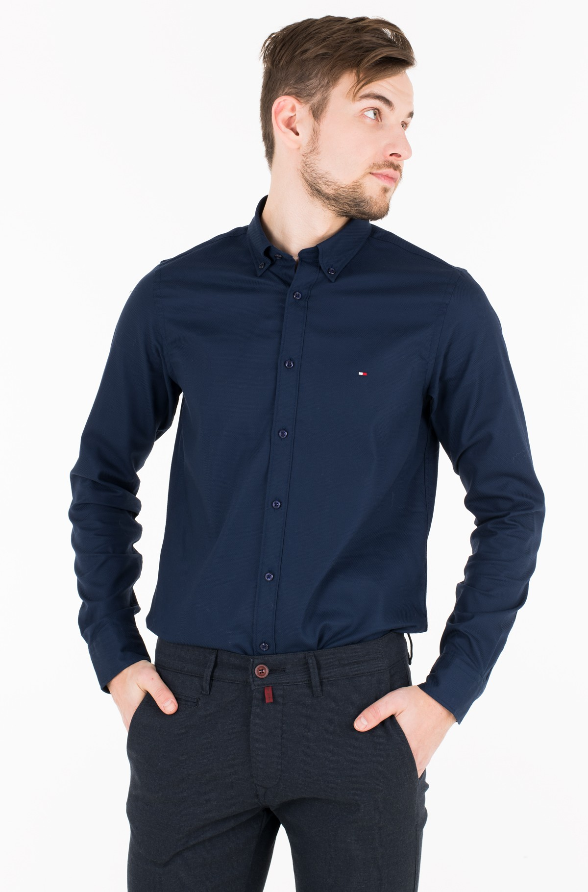 Triiksärk SLIM CELLULAR DOBBY SHIRT	-full-1