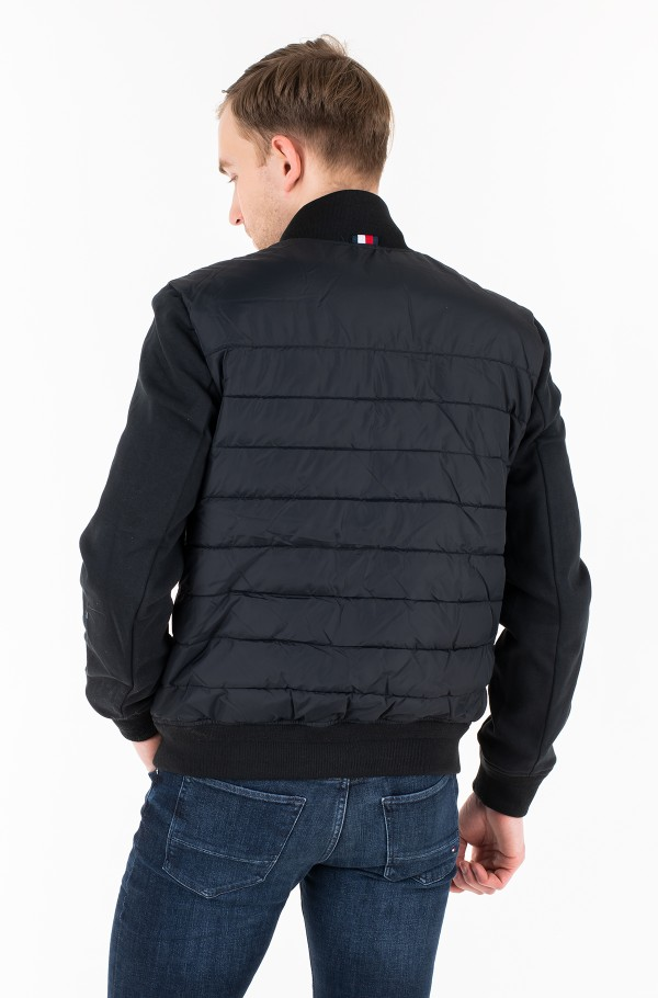 INSIDE STRIPE RIB QUILTED BOMBER-hover