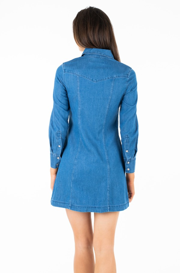 INDIGO TENCEL SHIRT DRESS-hover