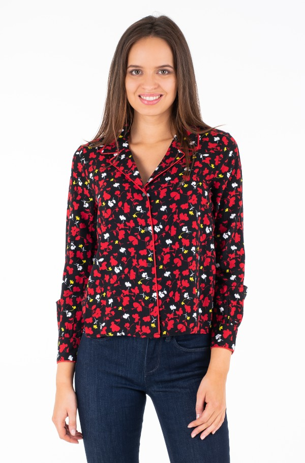 TJW PRINTED OPEN NECK BLOUSE