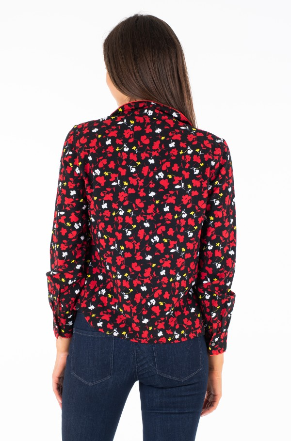 TJW PRINTED OPEN NECK BLOUSE-hover