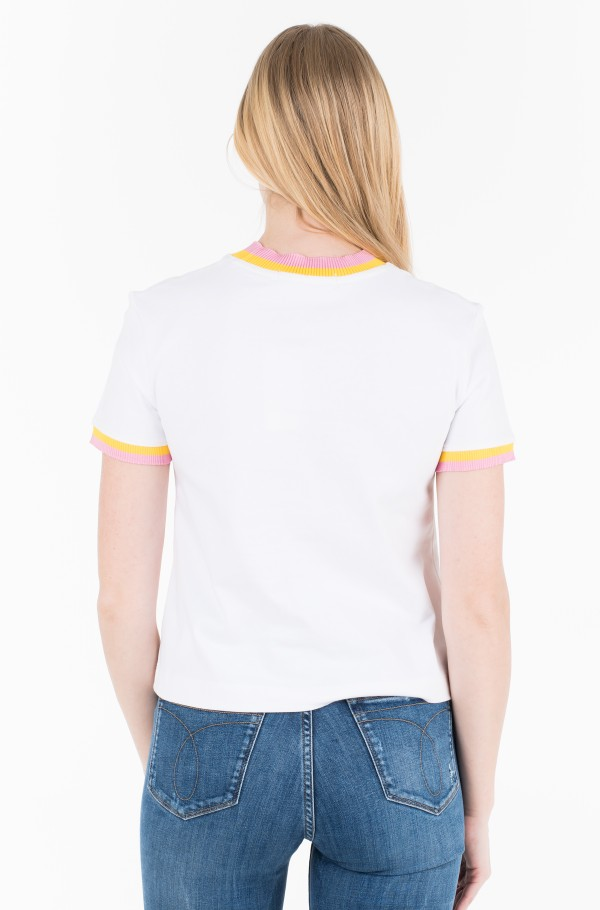 CONTRASTED NECK STRAIGHT TEE-hover