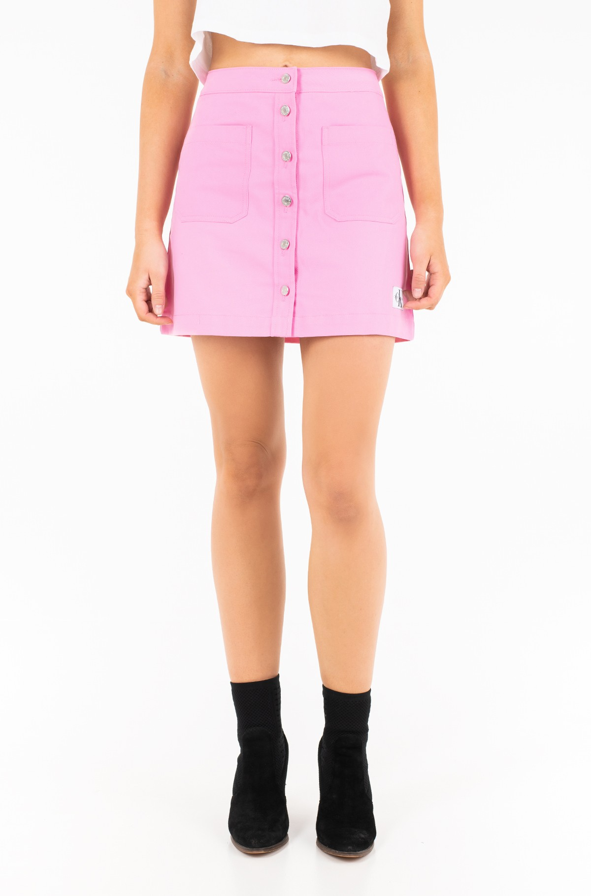 Seelik COTTON BUTTONED MINI SKIRT-full-1
