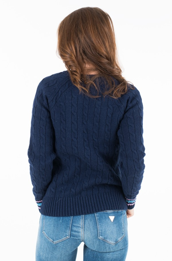 ALPACA BLEND CABLE SWEATER-hover