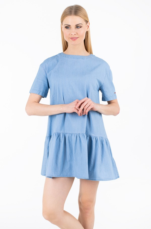 TJW DROPPED WAIST CHAMBRAY DRESS