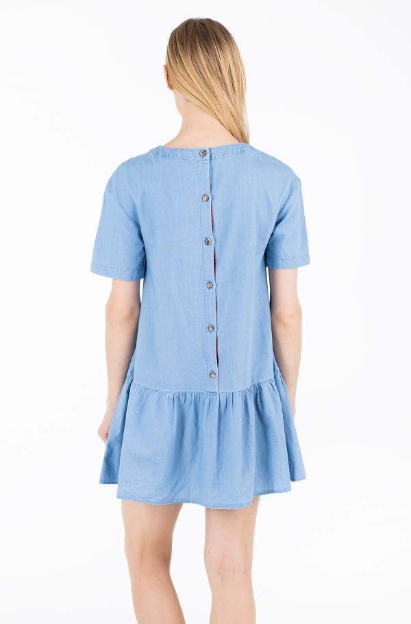 TJW DROPPED WAIST CHAMBRAY DRESS-hover