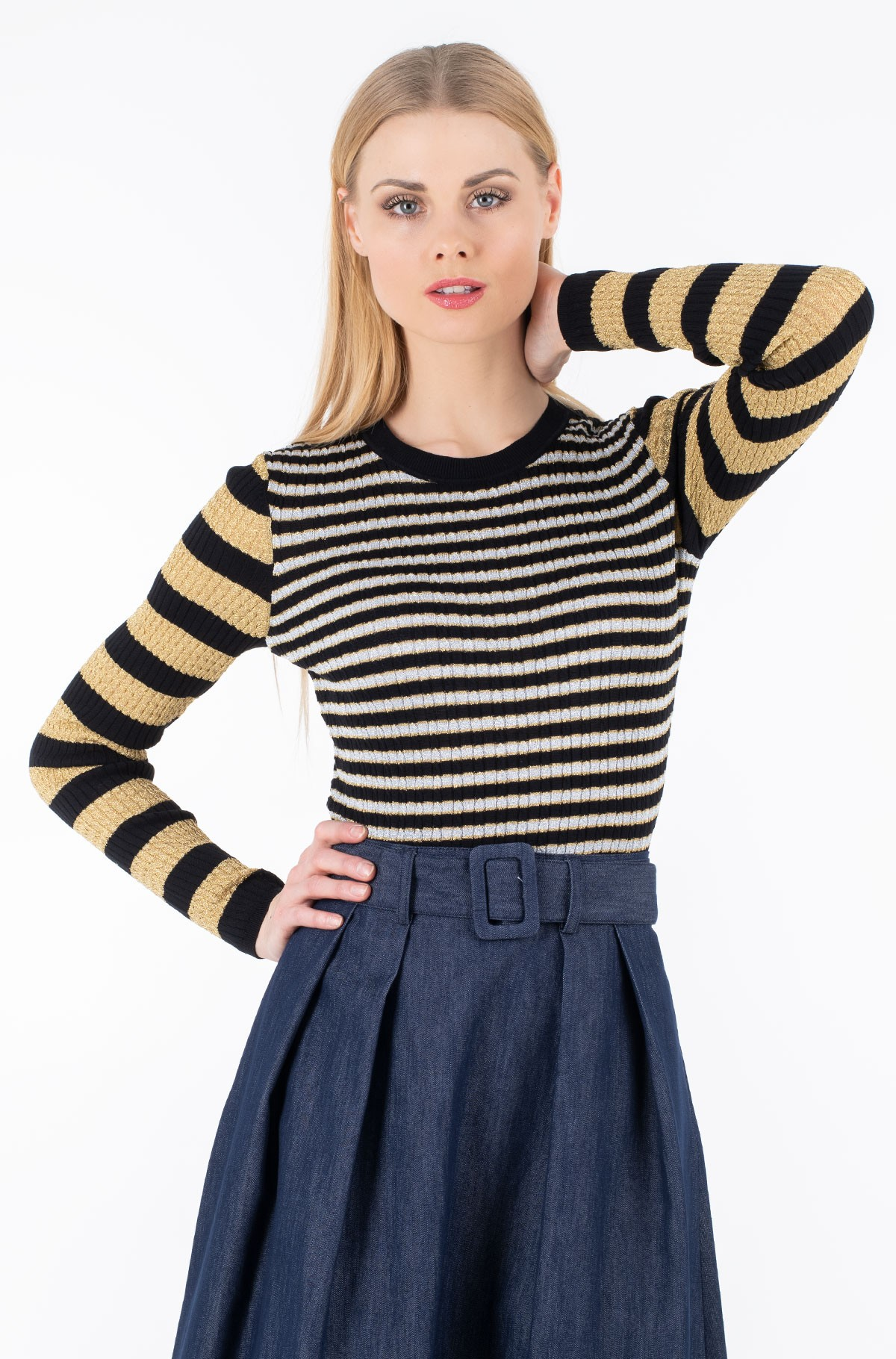Džemperis ZENDAYA STRIPE LUREX TOP LS-full-1