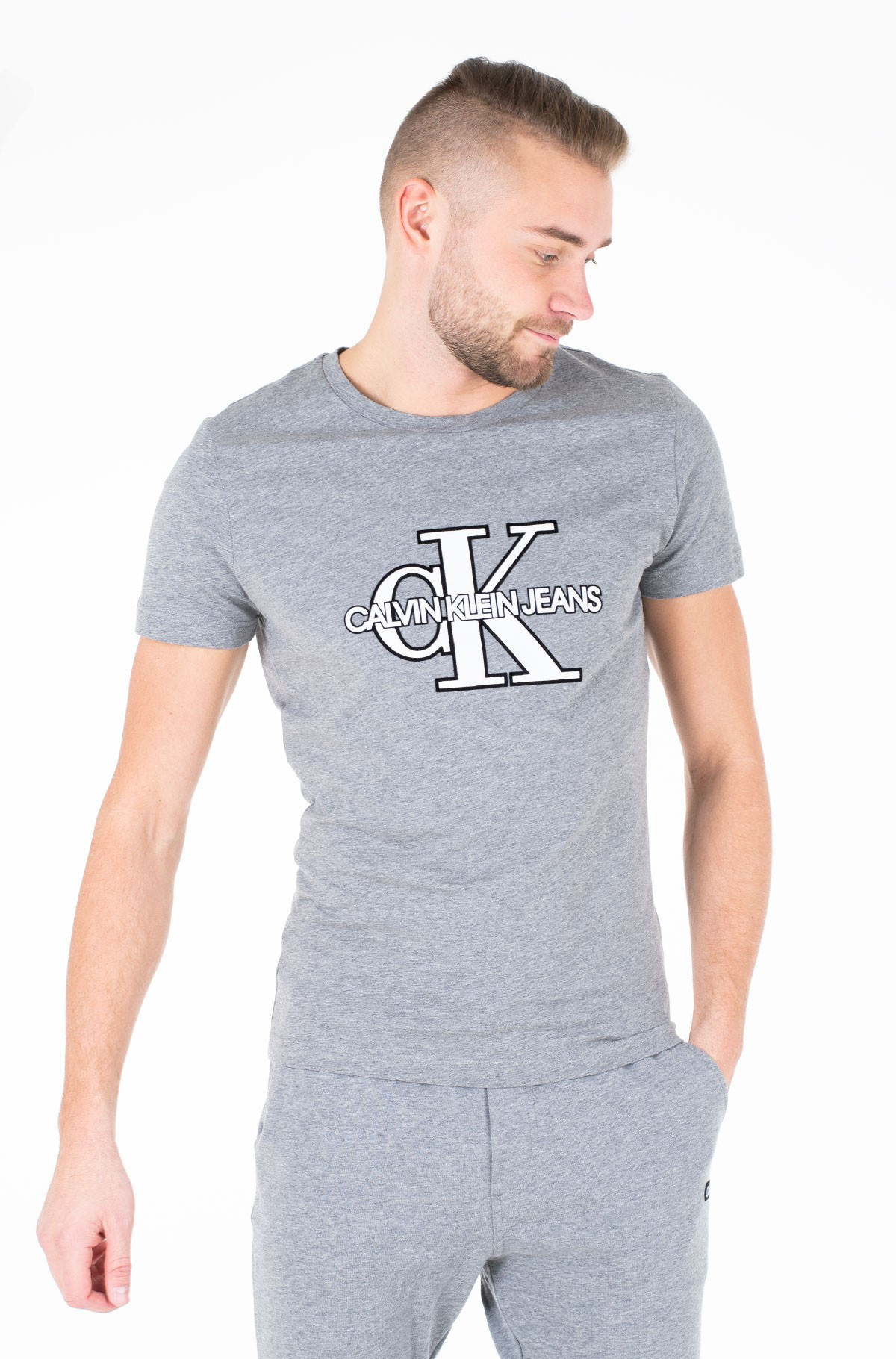 Marškinėliai CK MONOGRAM FRONT LOGO SLIM SS-full-1