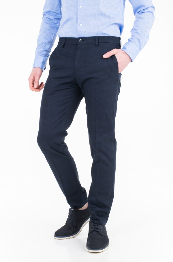 COTTON CHECK SLIM FIT PANTS