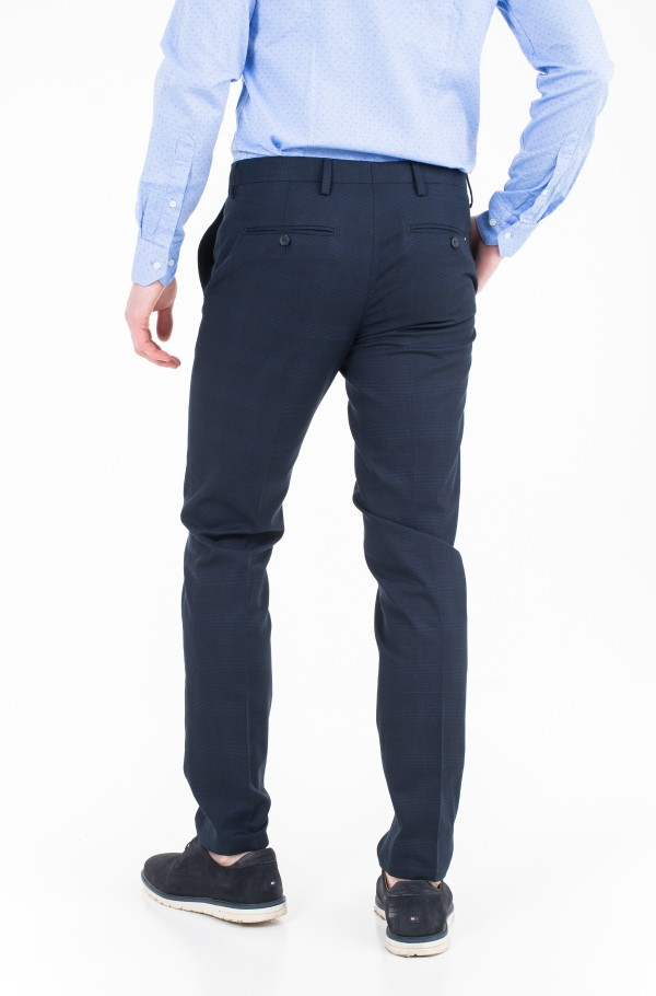 COTTON CHECK SLIM FIT PANTS-hover