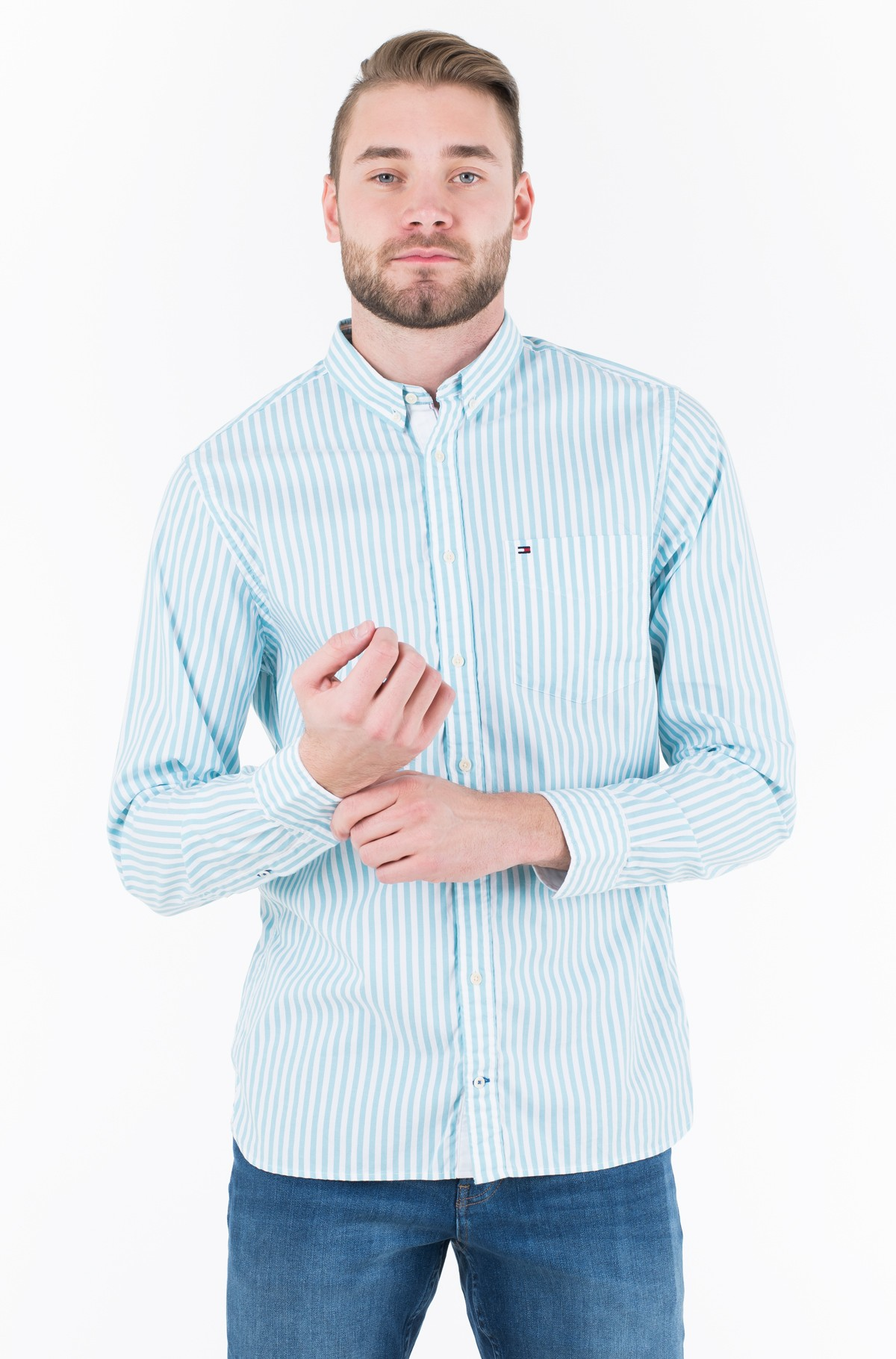 Triiksärk ORGANIC OXFORD STRIPE SHIRT	-full-1