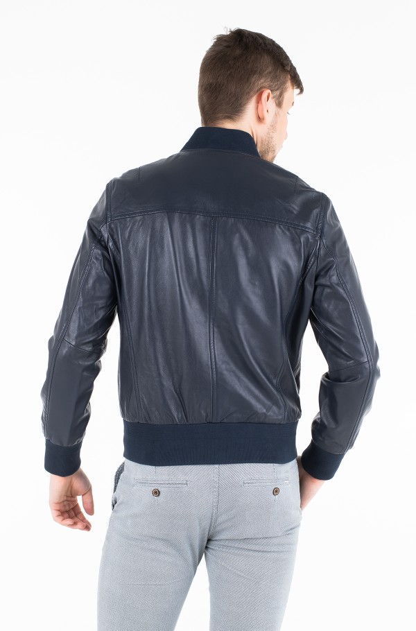 LEATHER BOMBER JACKET-hover