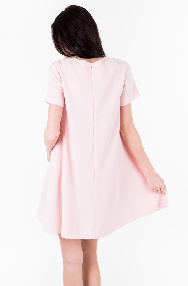 FLARED POLY SATIN SS DRESS-hover