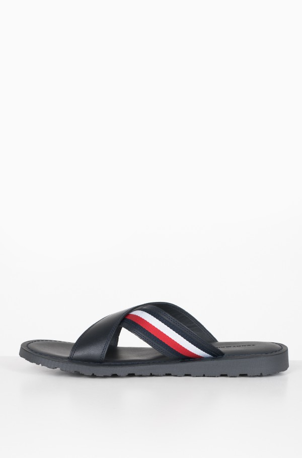 CRISS CROSS LEATHER SANDAL-hover