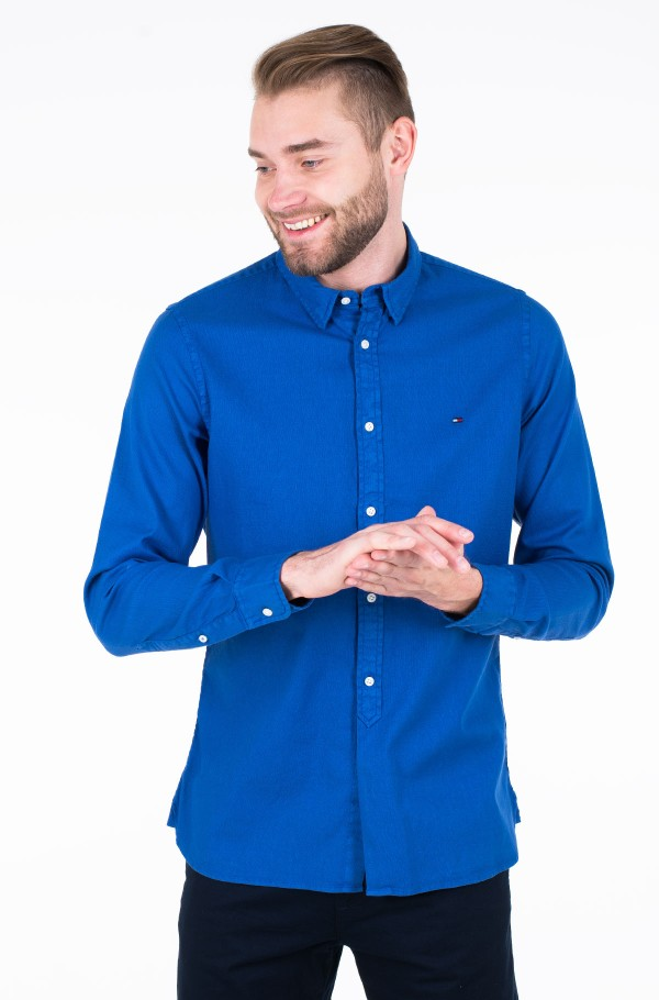 SLIM GARMENT DYED DOBBY SHIRT