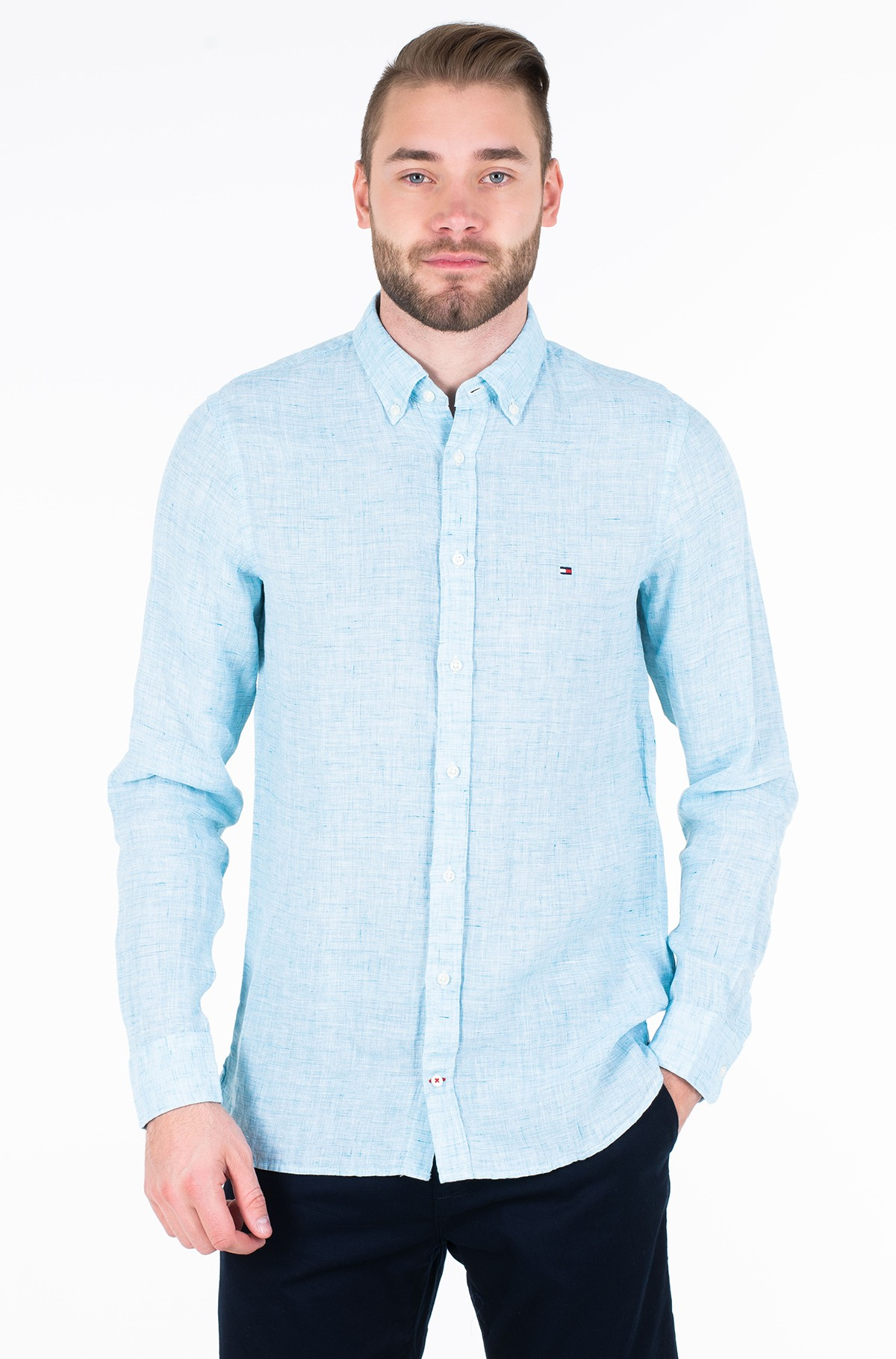 Marškiniai SLIM MELANGE LINEN SHIRT-full-1