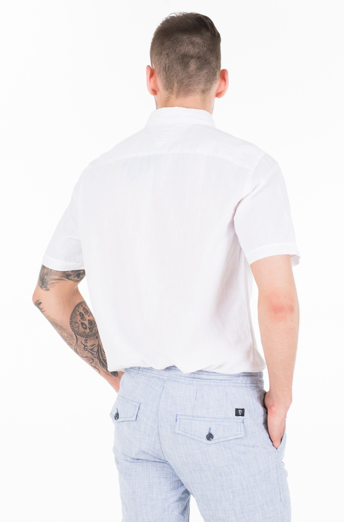 Marškiniai su trumpomis rankovėmis COTTON LINEN SHIRT S/S-full-2