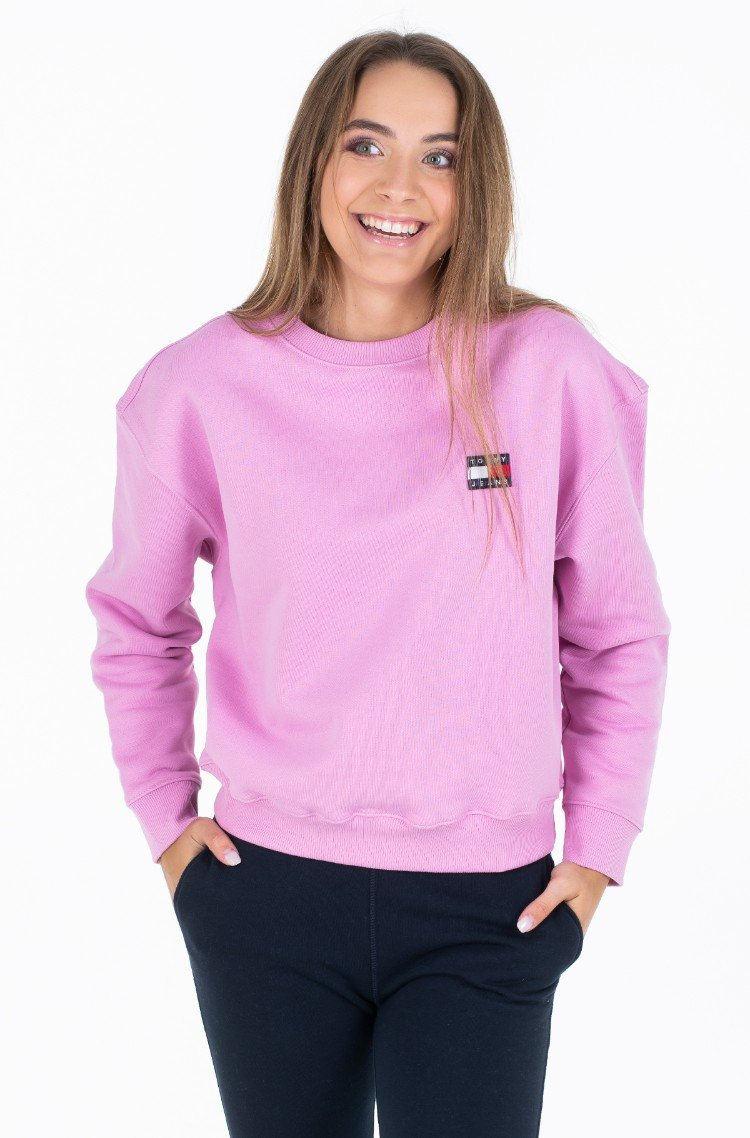 ee2cca3dc50e Pink Hoodie TJW TOMMY BADGE CREW Tommy Jeans, Womens Sweatshirts ...