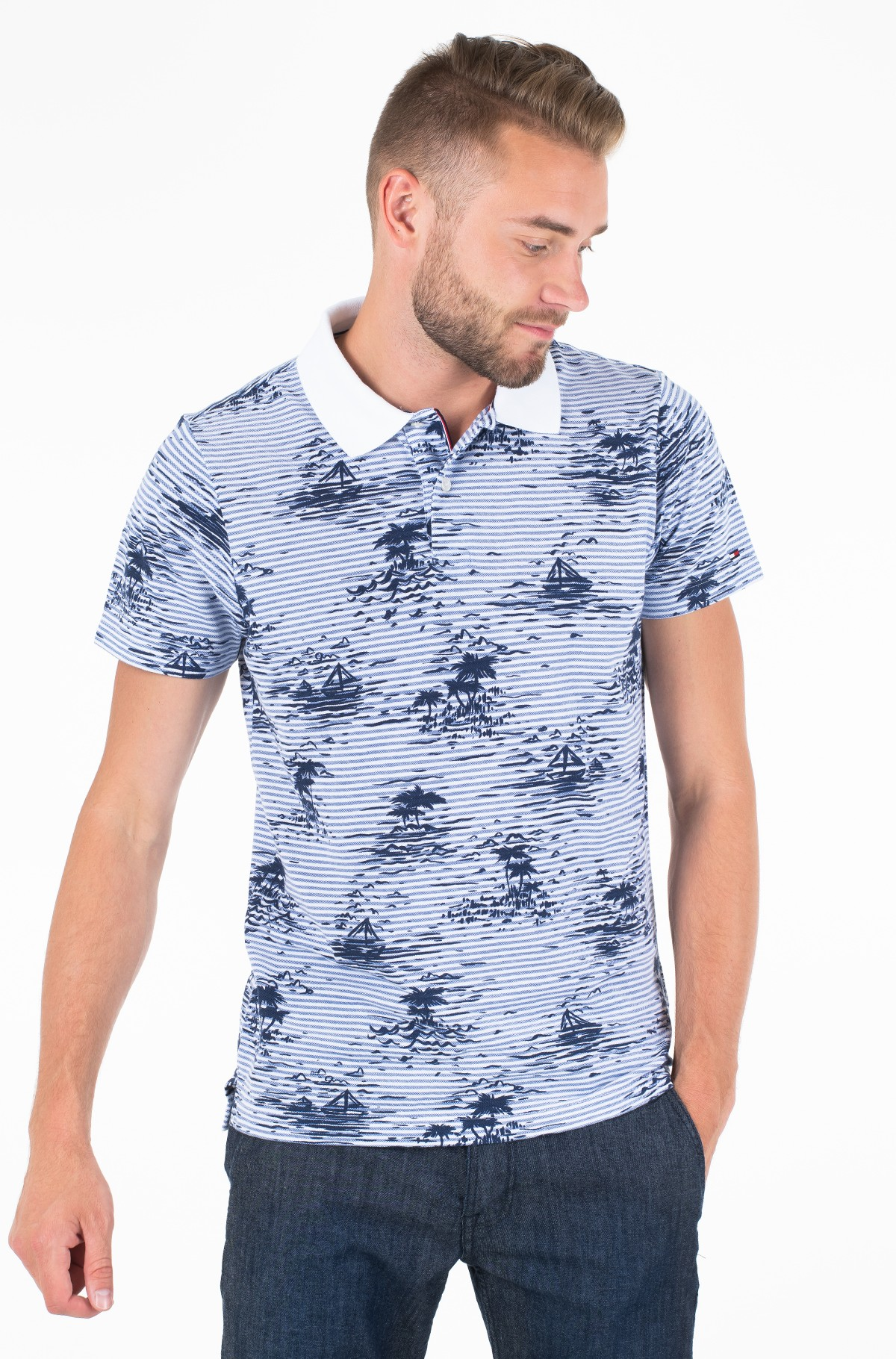 Polo ALL OVER SMALL PRINT SLIM POLO-full-1