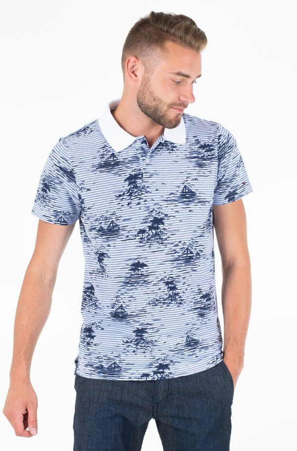 ALL OVER SMALL PRINT SLIM POLO