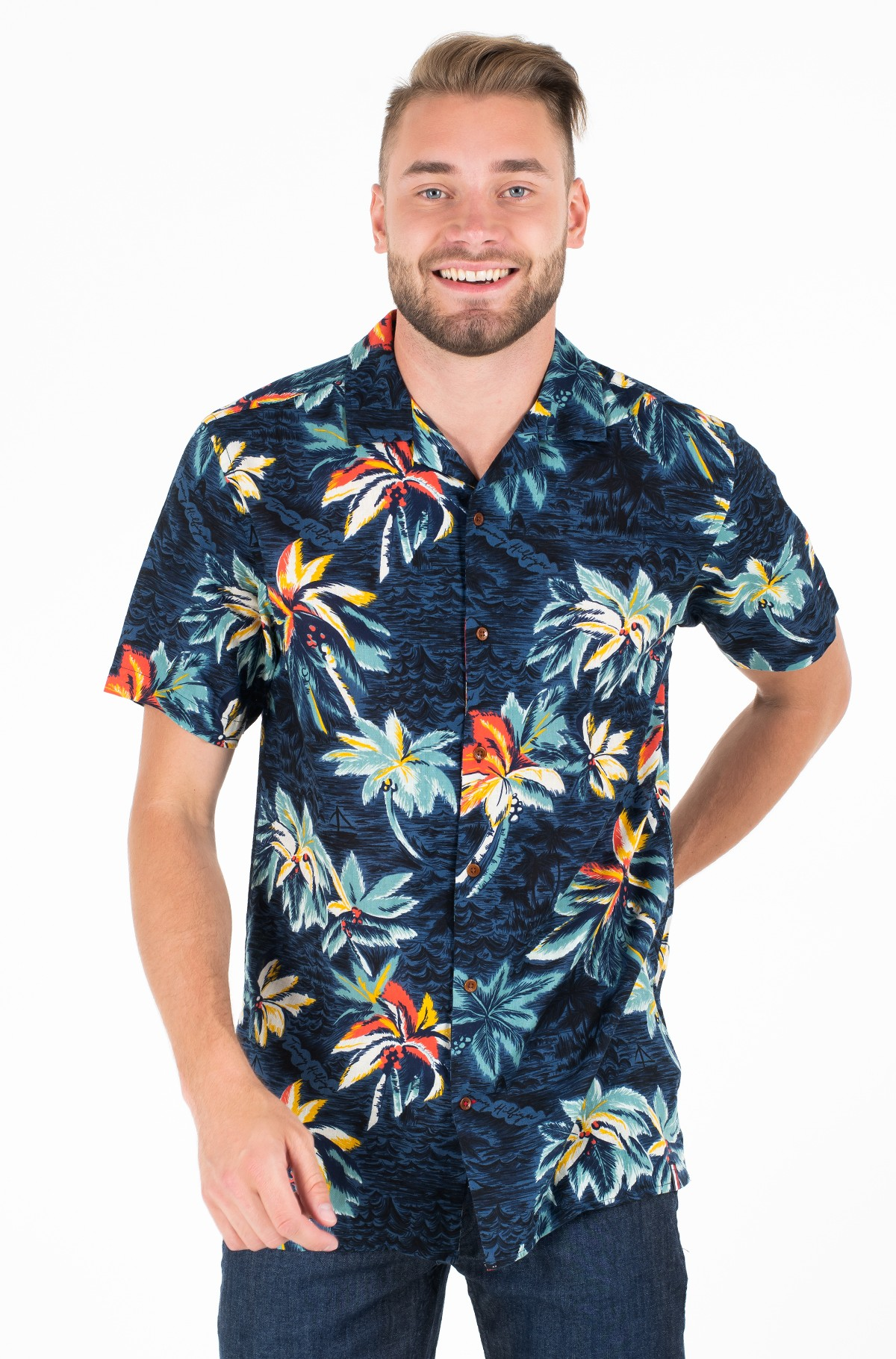 Marškiniai su trumpomis rankovėmis HAWAIIAN PRINT SHIRT S/S-full-1