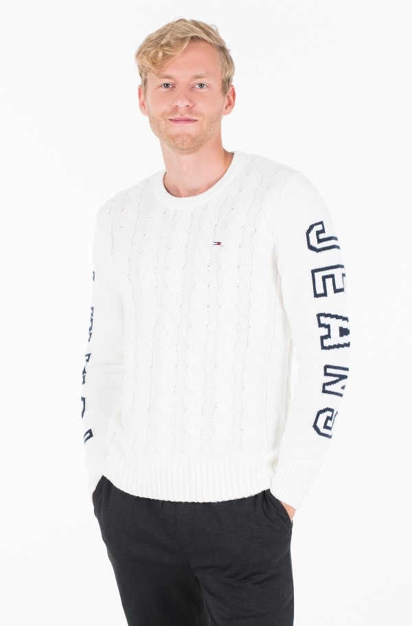 TJM CABLE LOGO SWEATER