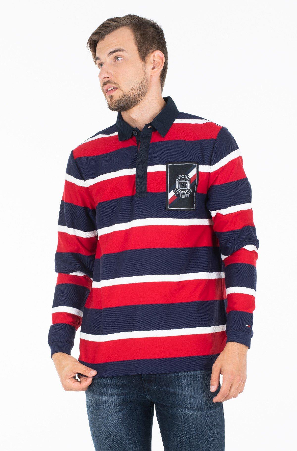 Polo marškinėliai ilgomis rankovėmis HERRINGBONE TEXTURED RUGBY-full-1