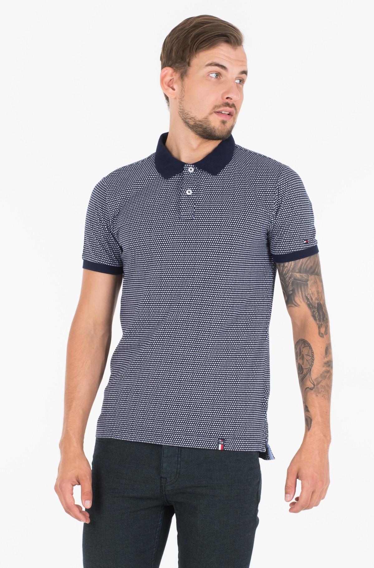 Polokrekls  MICRO TRIANGLE PRINT SLIM POLO-full-1