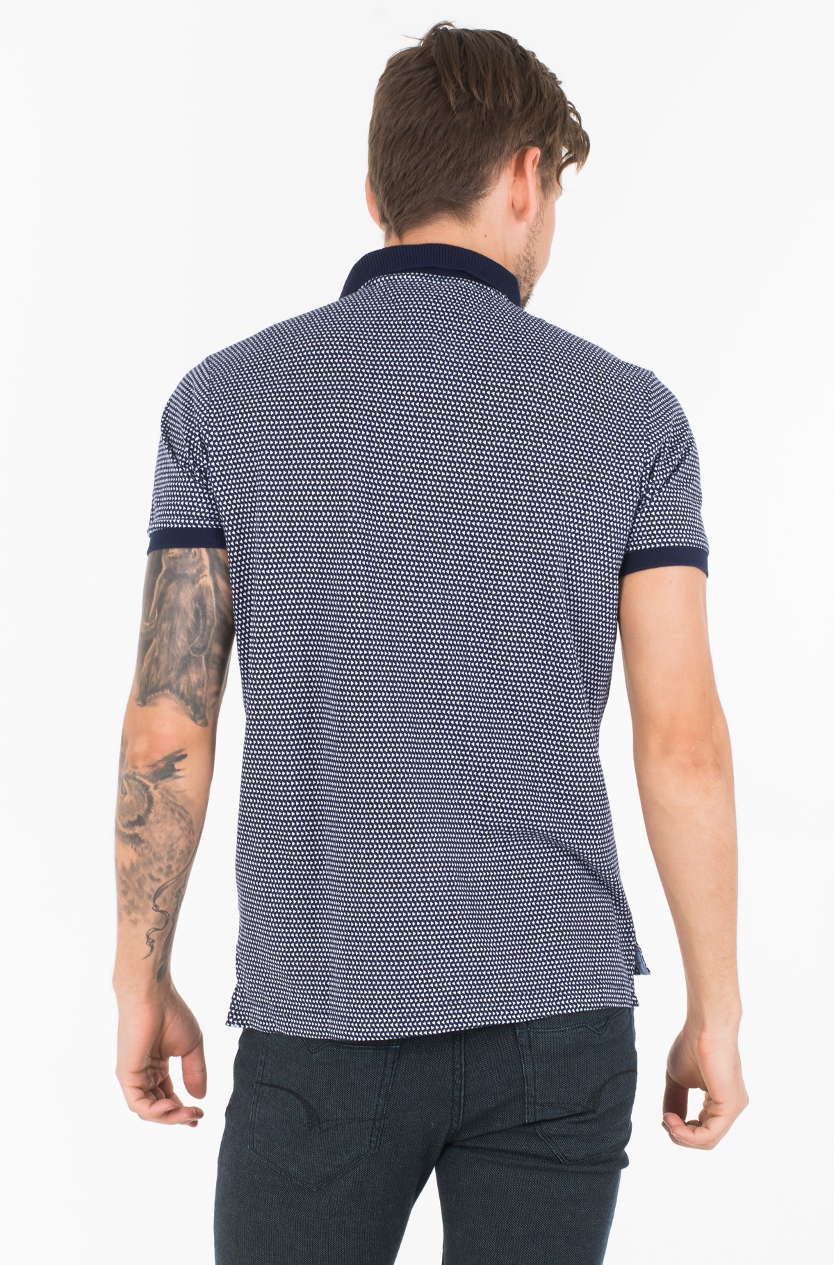 Polokrekls  MICRO TRIANGLE PRINT SLIM POLO-full-2