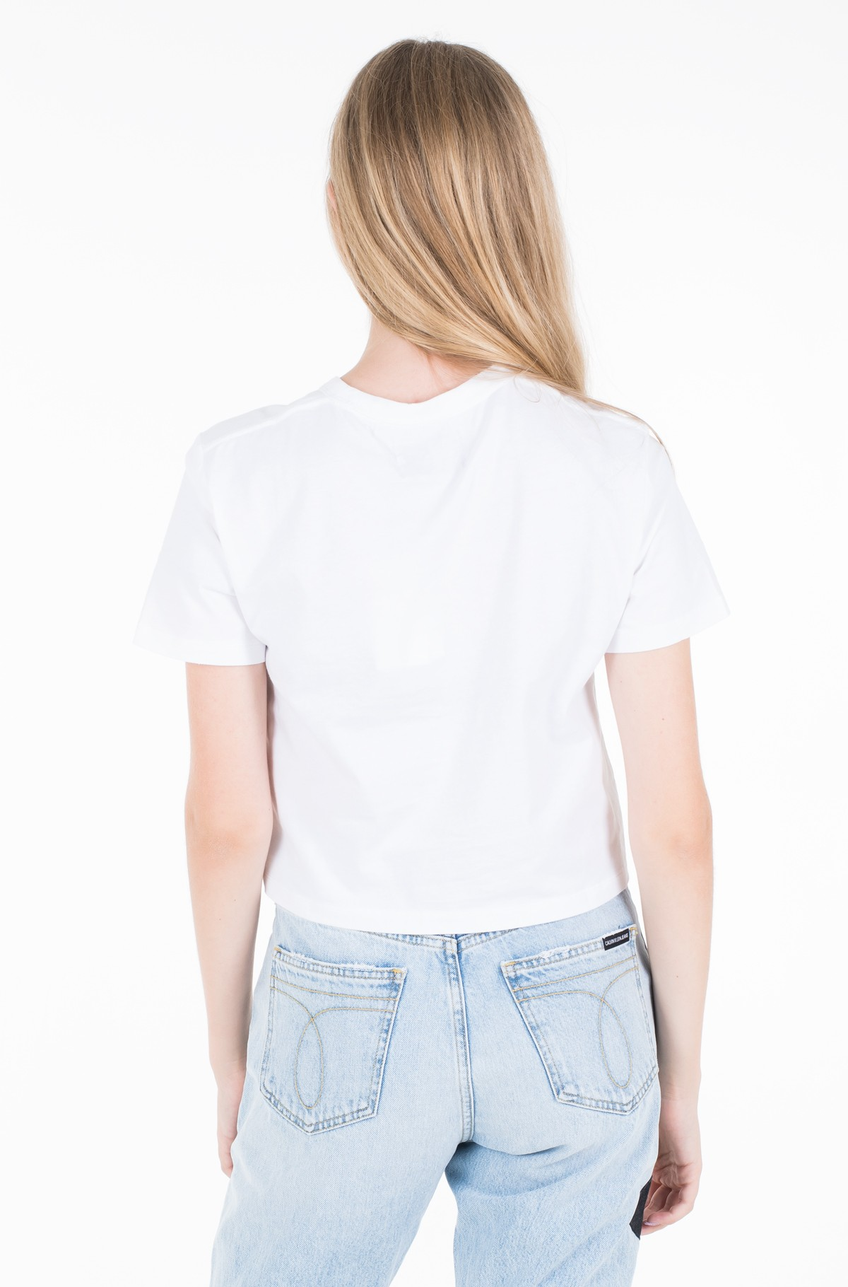Marškinėliai MONOGRAM EMBROIDERY CROPPED TEE-full-2