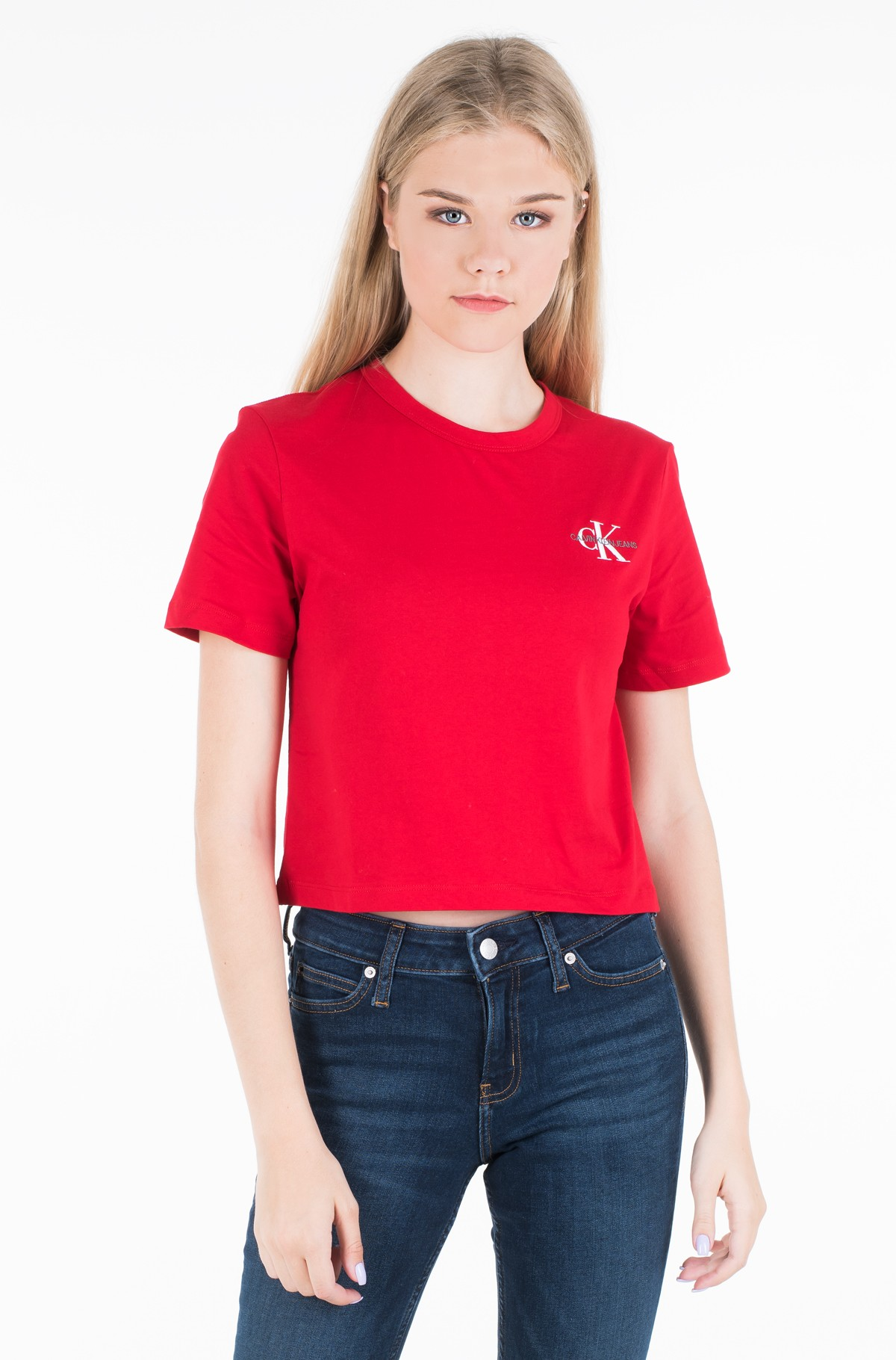 T-krekls MONOGRAM EMBROIDERY CROPPED TEE	-full-1