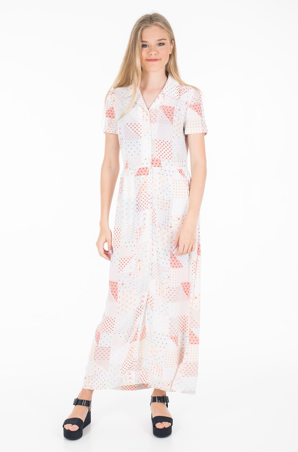 PATCHWORK PRINT MAXI DINER DRESS