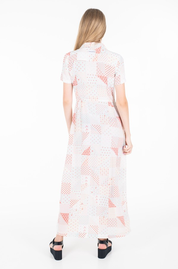 PATCHWORK PRINT MAXI DINER DRESS-hover