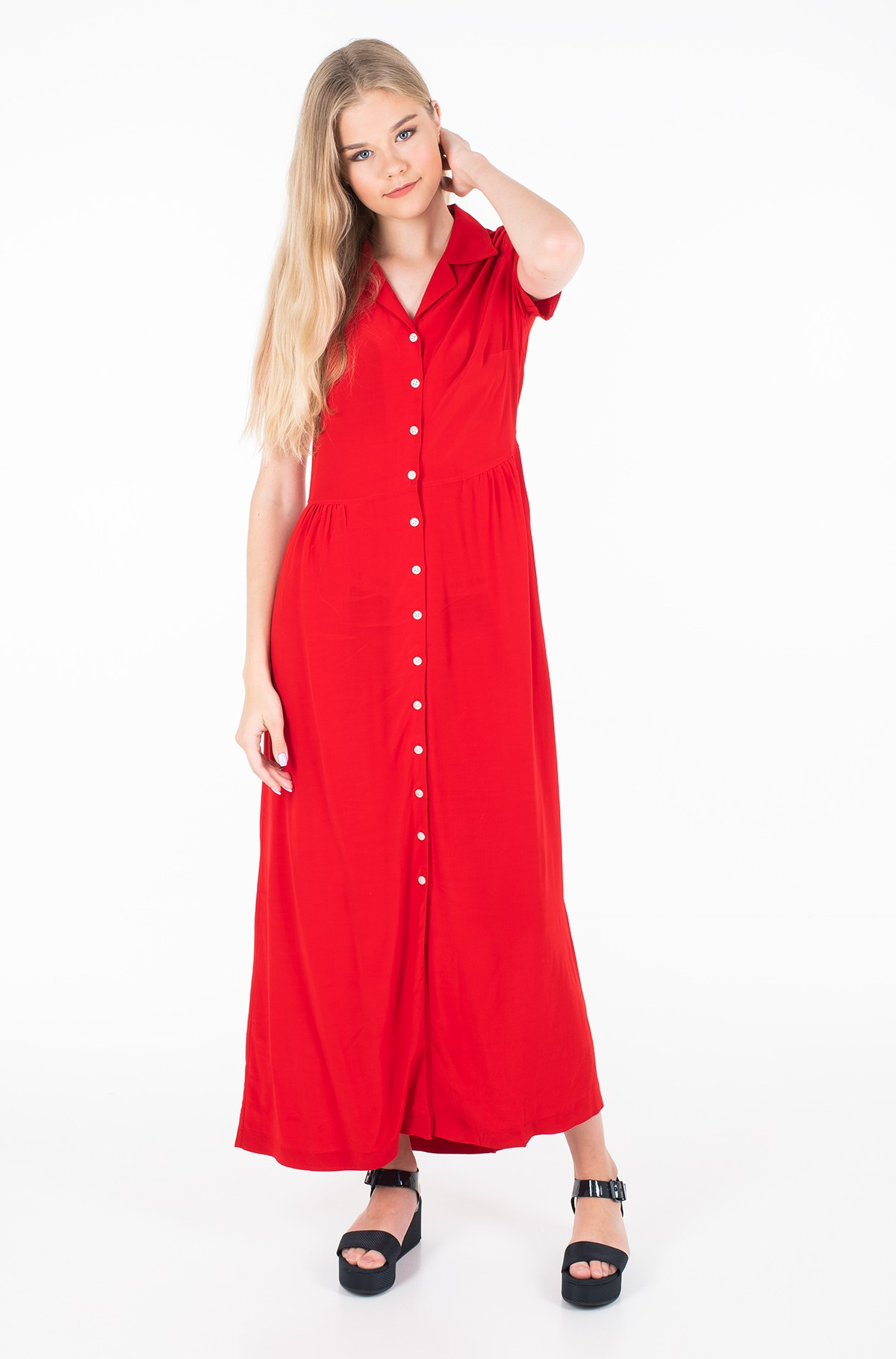 Gara kleita PATCHWORK PRINT MAXI DINER DRESS-full-1