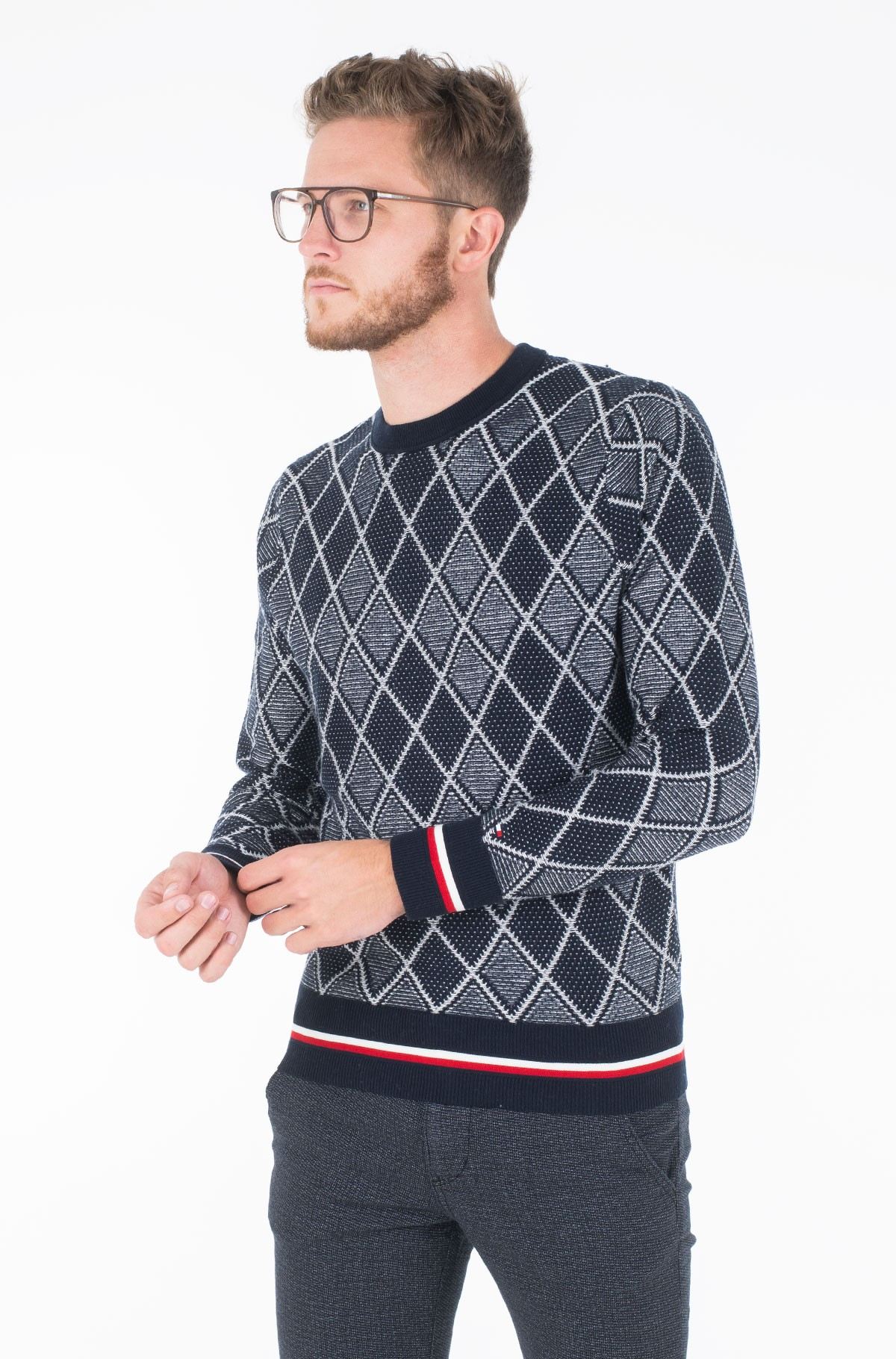 Sviiter TIPPED TWO COLOR ARGYLE SWEATER	-full-1