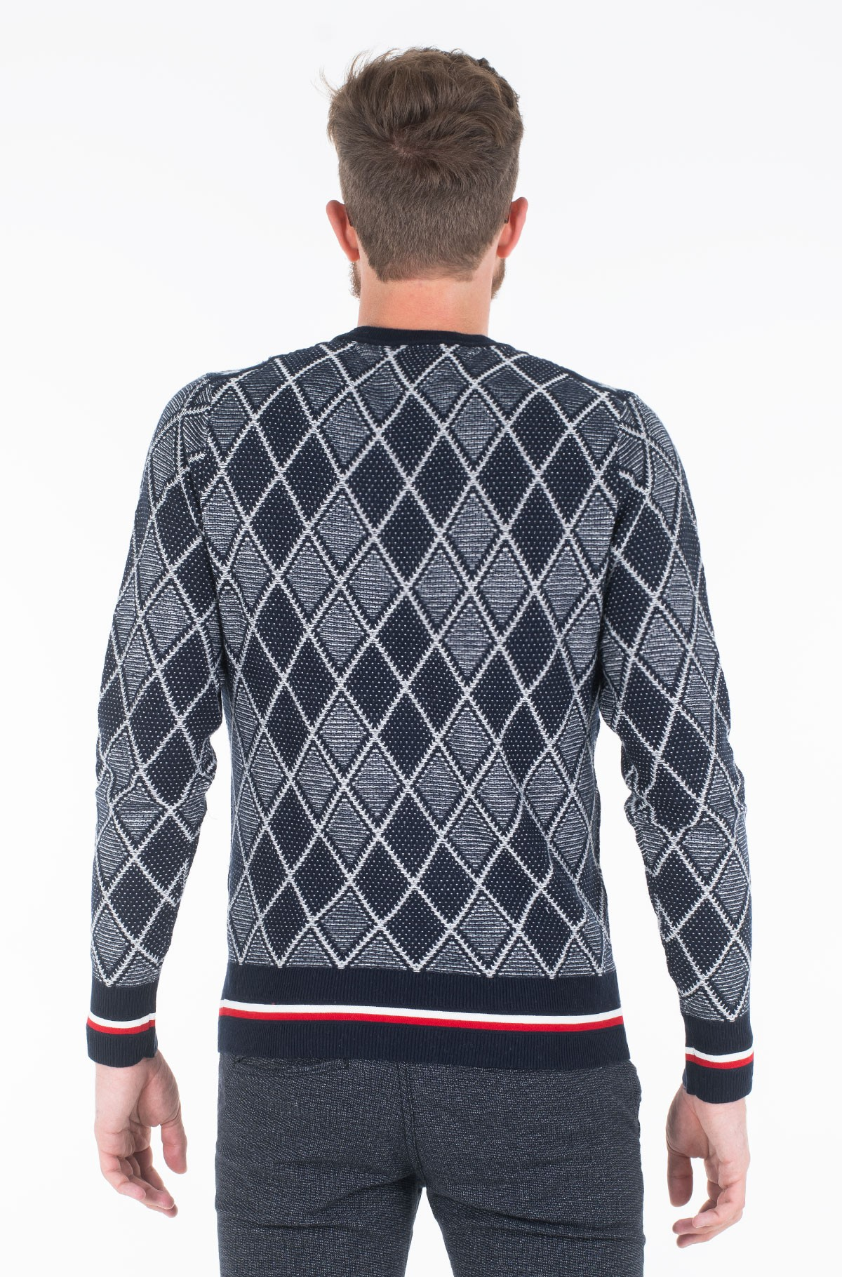 Sviiter TIPPED TWO COLOR ARGYLE SWEATER	-full-2