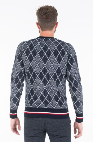 Sviiter TIPPED TWO COLOR ARGYLE SWEATER	-2