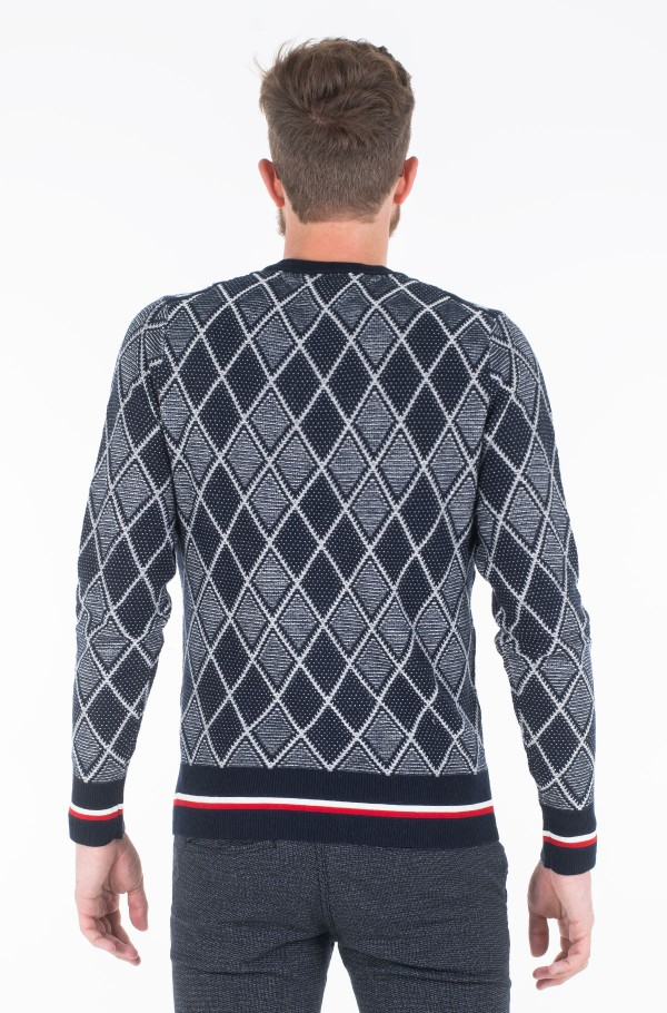 TIPPED TWO COLOR ARGYLE SWEATER-hover