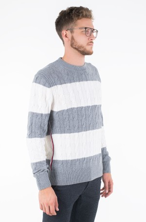 Sweater BLOCK STRIPED CABLE SWEATER-1