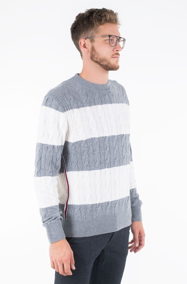 BLOCK STRIPED CABLE SWEATER